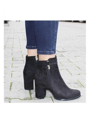 Modabuymus Modabuymus Kadın  Süet Püsküllü Topuklu Bot  - Sares Siyah